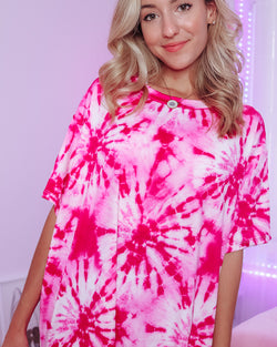 TIE DYE OVERSIZED TEE - HOT PINK