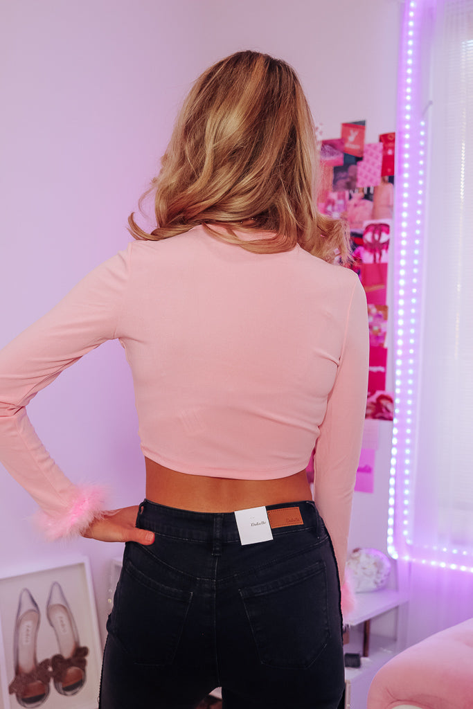 CLUELESS TIE FRONT TOP - BABY PINK - Idol Style - affordable boutique