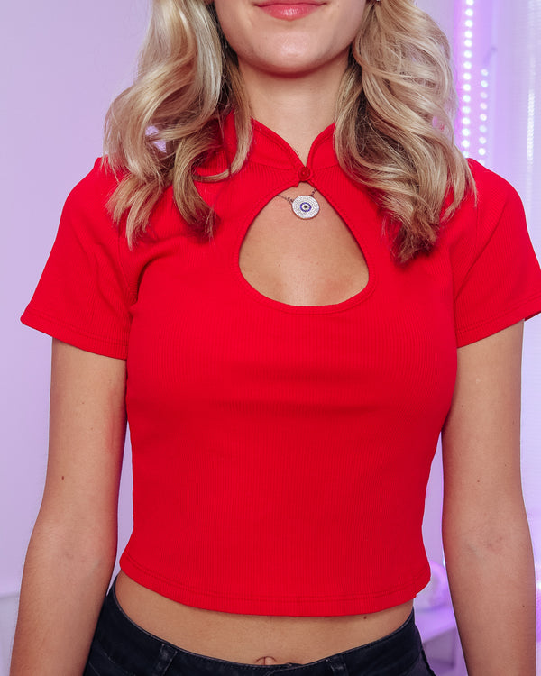 KALEY KEYHOLE FRONT TOP - BRIGHT RED