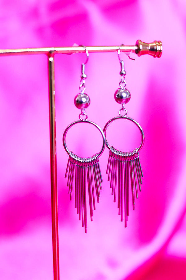 FRINGE HOOP EARRINGS - SILVER