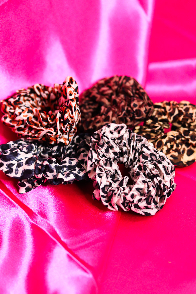 CHEETAH PRINT SCRUNCHIES - SET OF 2 - ASSORTED COLORS - Idol Style - affordable boutique