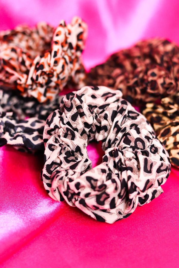 CHEETAH PRINT SCRUNCHIES - SET OF 2 - ASSORTED COLORS