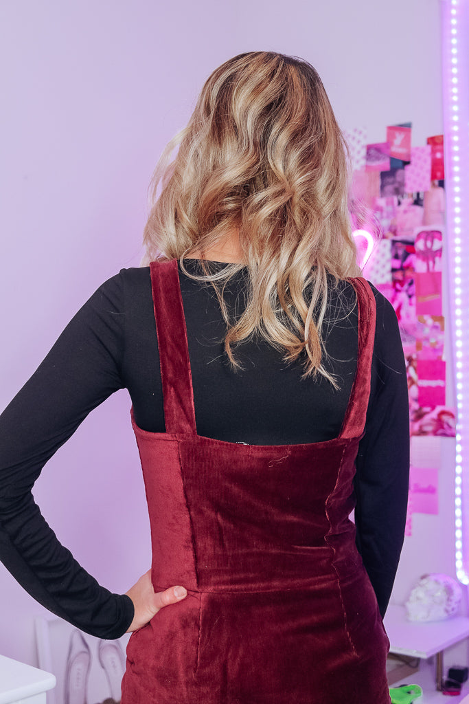MERLOT CORDUROY PINAFORE DRESS