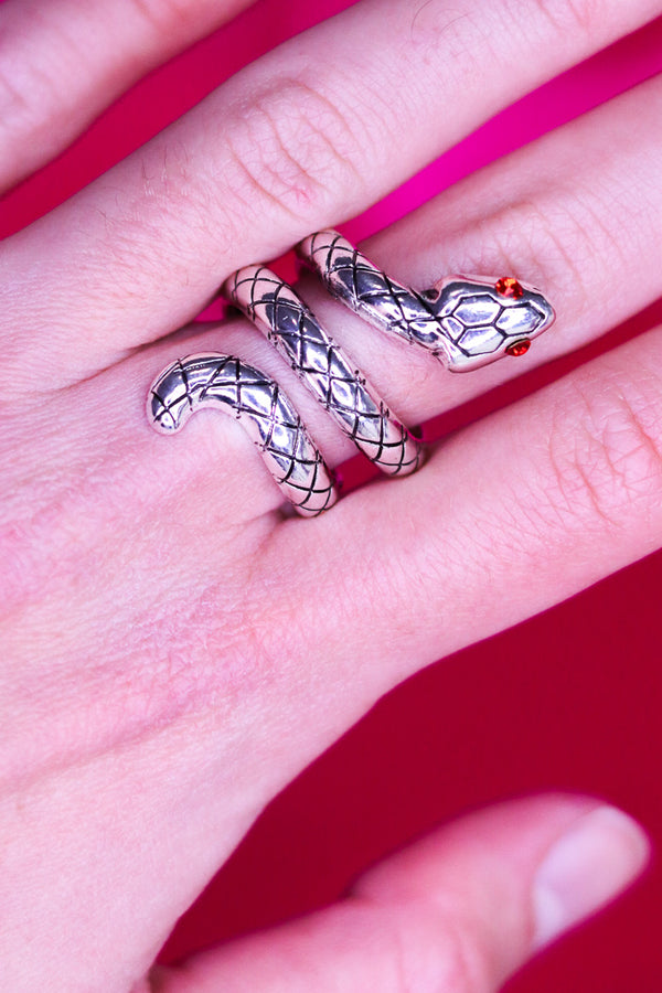 SILVER SNAKE RING - ADJUSTABLE