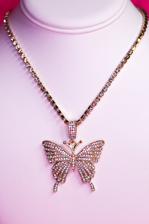 ICY BUTTERFLY NECKLACE - GOLD