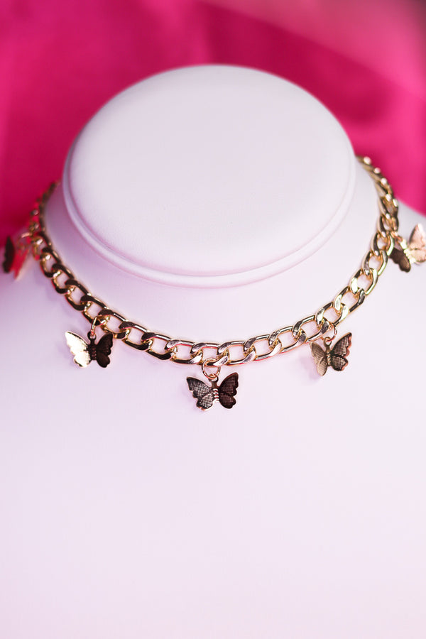 BUTTERFLY CHOKER - GOLD