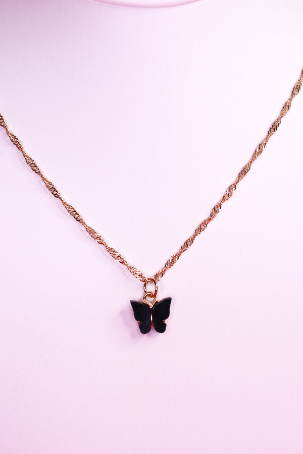 BUTTERFLY NECKLACE - GOLD/BLACK