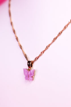BUTTERFLY NECKLACE - GOLD/PINK