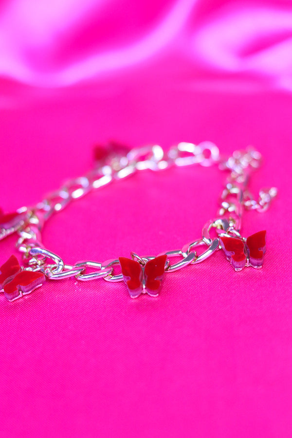 BUTTERFLY CHARM BRACELET - GOLD/RED