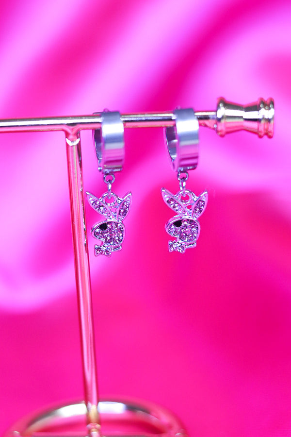 ICY BUNNY EARRINGS - SILVER/PINK