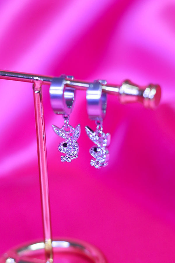 ICY BUNNY EARRINGS - SILVER/CLEAR - Idol Style - affordable boutique