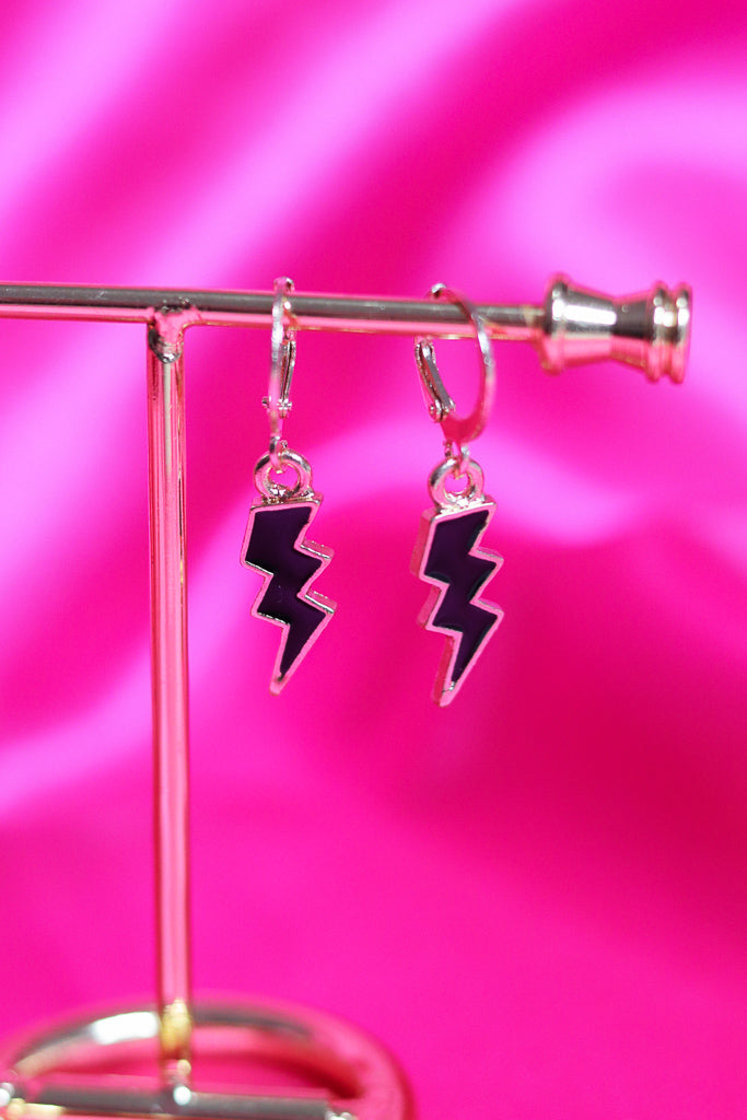 LIGHTNING BOLT EARRINGS - GOLD/BLACK - Idol Style - affordable boutique