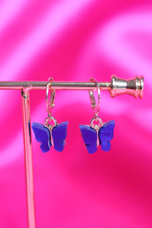 BUTTERFLY EARRINGS - GOLD/ROYAL BLUE