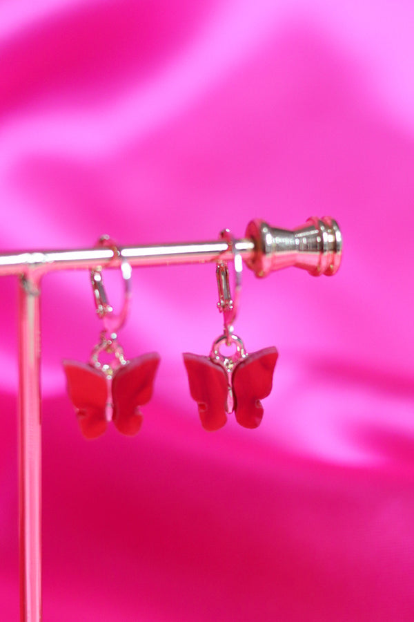 BUTTERFLY EARRINGS - GOLD/RED
