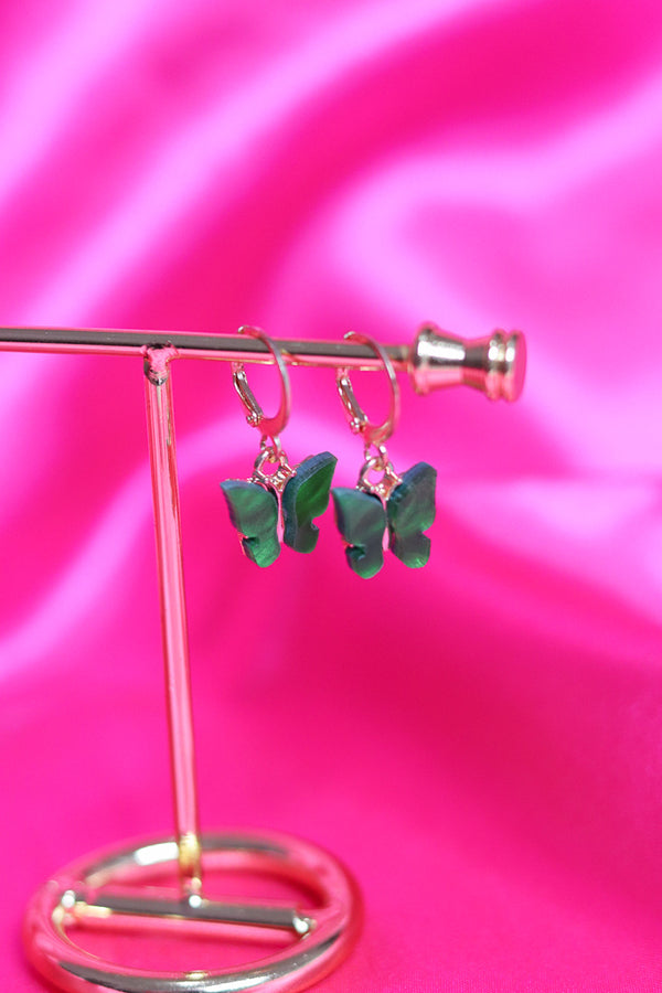 BUTTERFLY EARRINGS - GOLD/GREEN