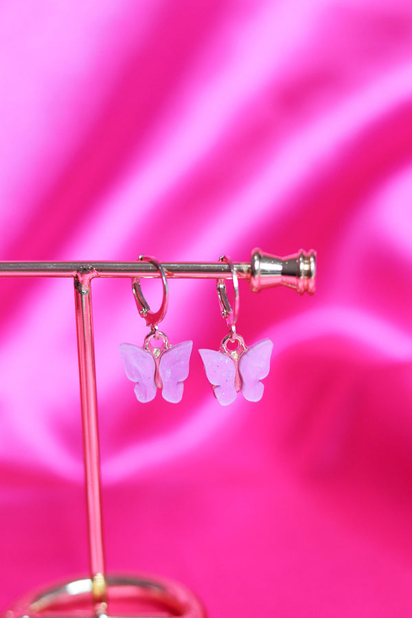 BUTTERFLY EARRINGS - GOLD/PINK