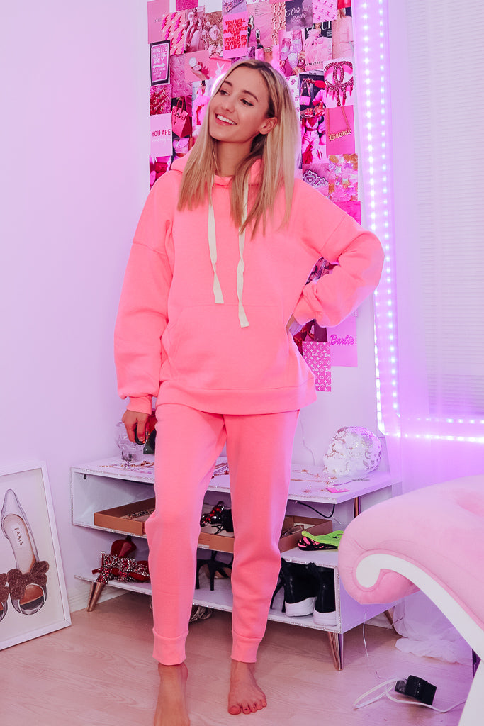 OLIVIA RELAXED JOGGERS - BRIGHT PINK