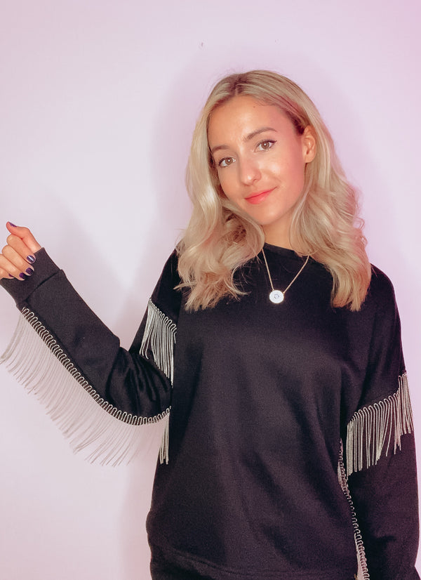 METAL FRINGE CREW NECK SWEATER ⛓