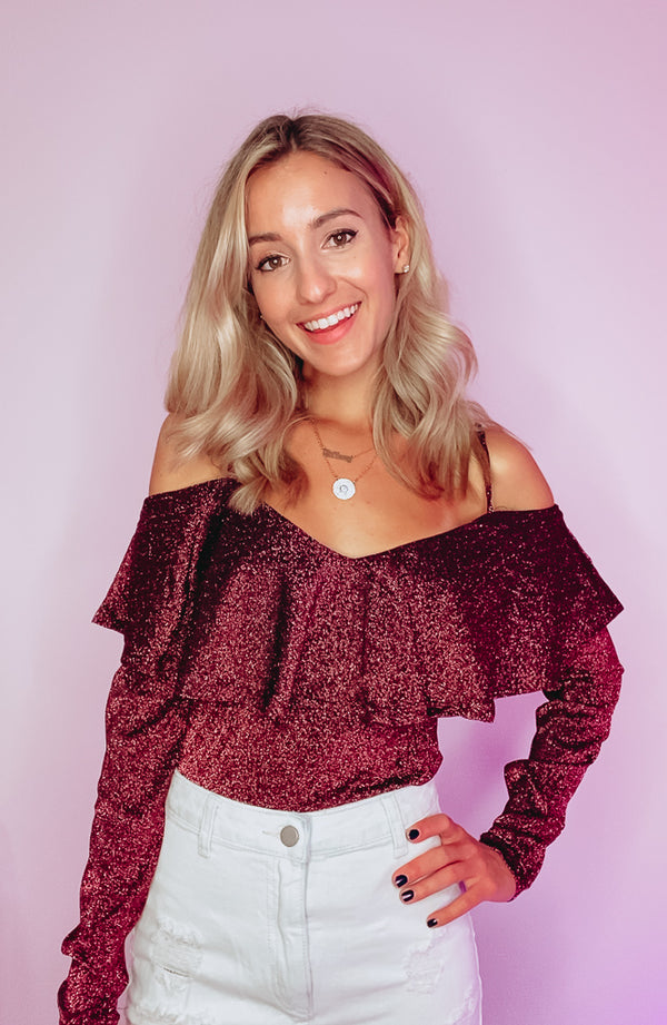 GLITTER & GLAM COLD SHOULDER RUFFLED BODYSUIT - RED WINE