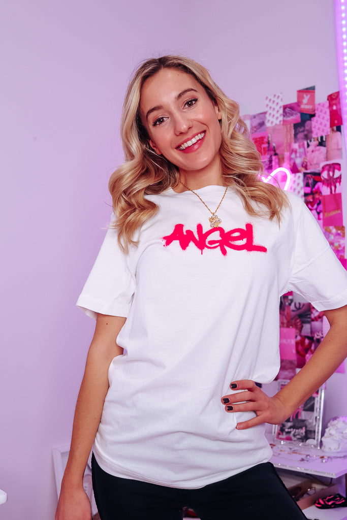 ANGEL GRAFITTI OVERSIZED TEE - Idol Style - affordable boutique