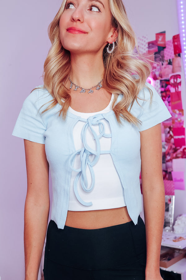 BELLA BABY BLUE TIE FRONT TOP