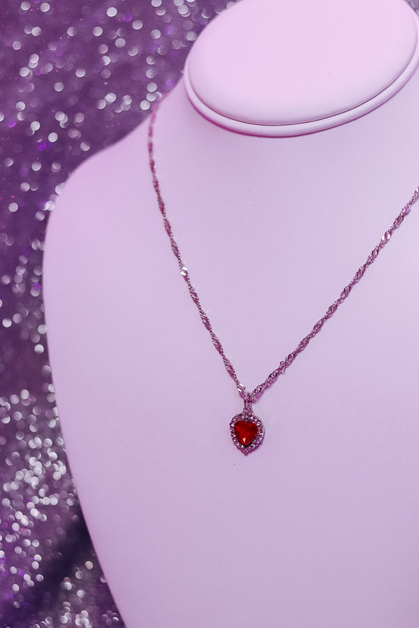 ROYAL EMERALD NECKLACE - SILVER/RED