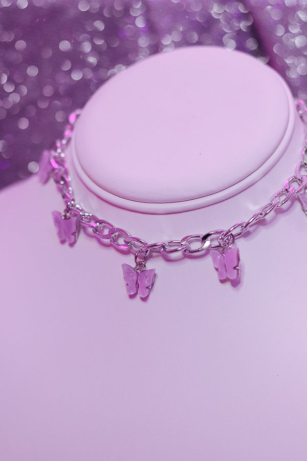 BUTTERFLY CHOKER - SILVER/PINK - Idol Style - affordable boutique