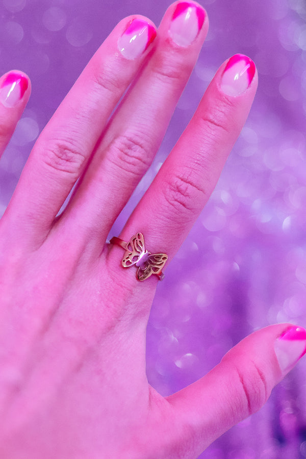 BUTTERFLY ADJUSTABLE RING - GOLD - Idol Style - affordable boutique