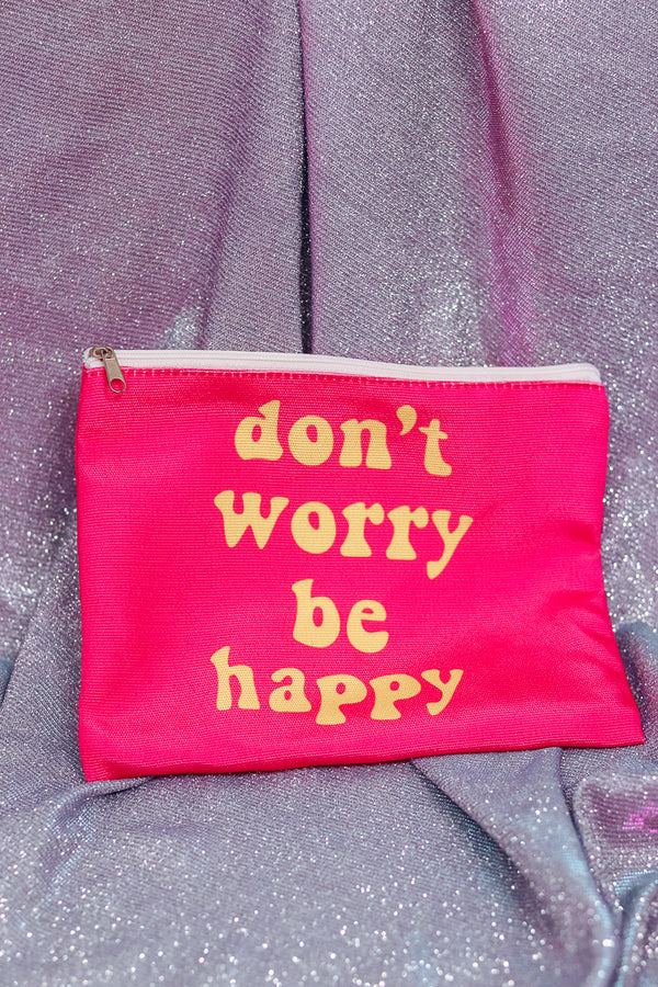 DON'T WORRY BE HAPPY MAKEUP POUCH - Idol Style - affordable boutique
