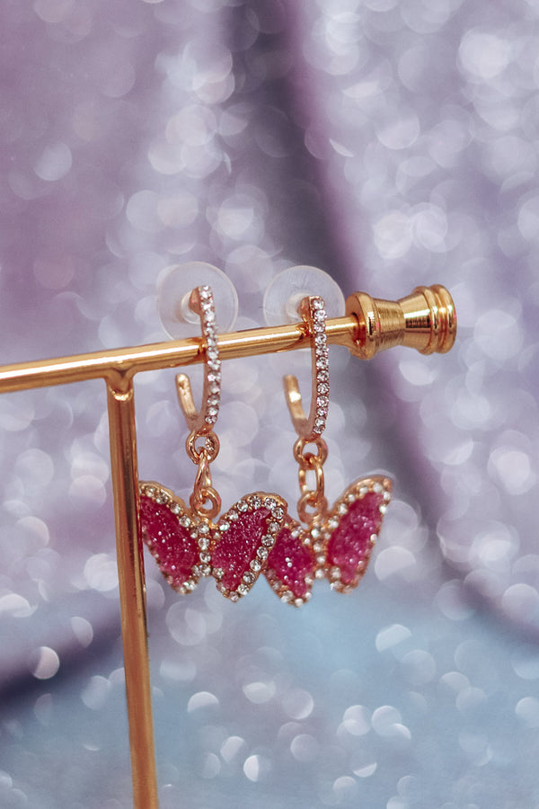 BLING BUTTERFLY EARRINGS - HOT PINK