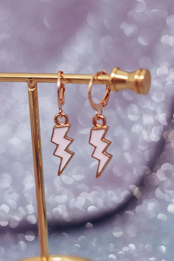 LIGHTNING BOLT EARRINGS - GOLD/BABY PINK