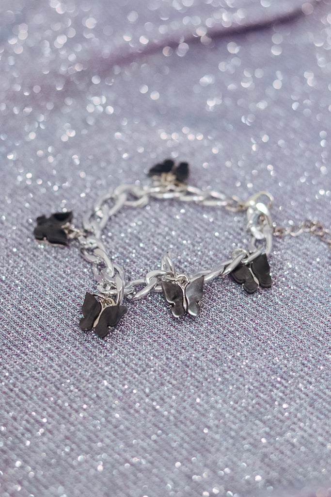 BUTTERFLY CHARM BRACELET - SILVER/BLACK - Idol Style - affordable boutique