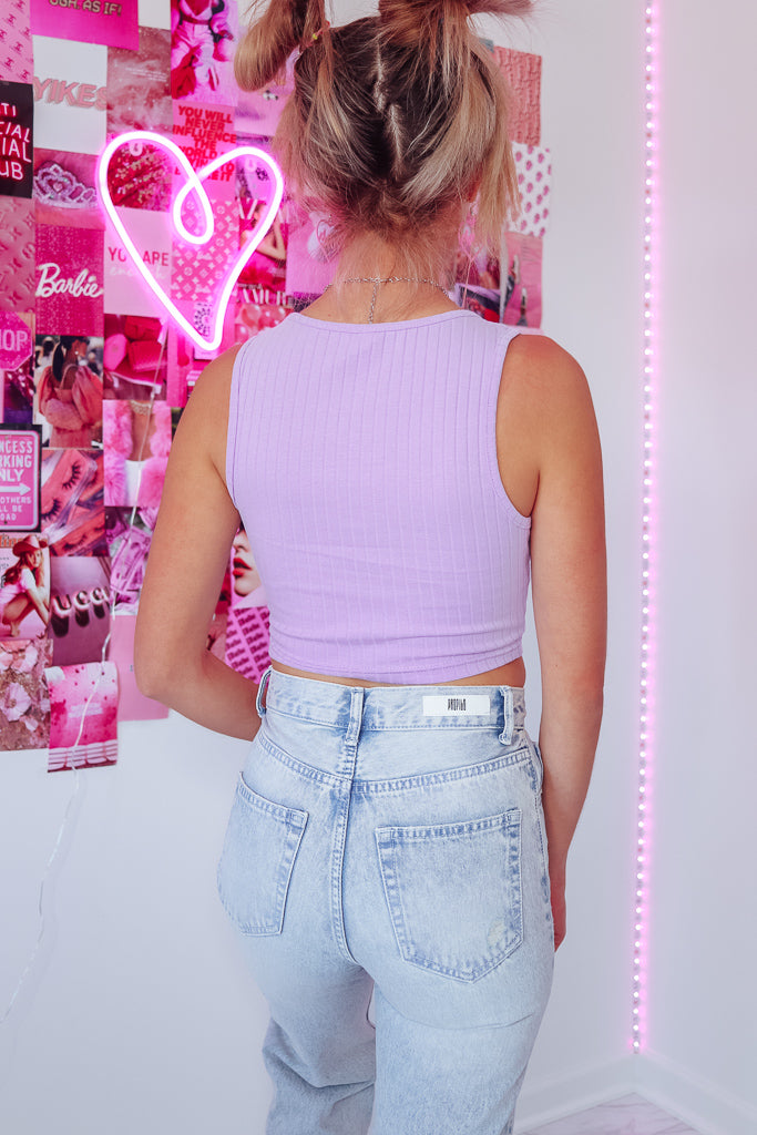 RILEY RIBBED CROP TANK - LAVENDER - Idol Style - affordable boutique