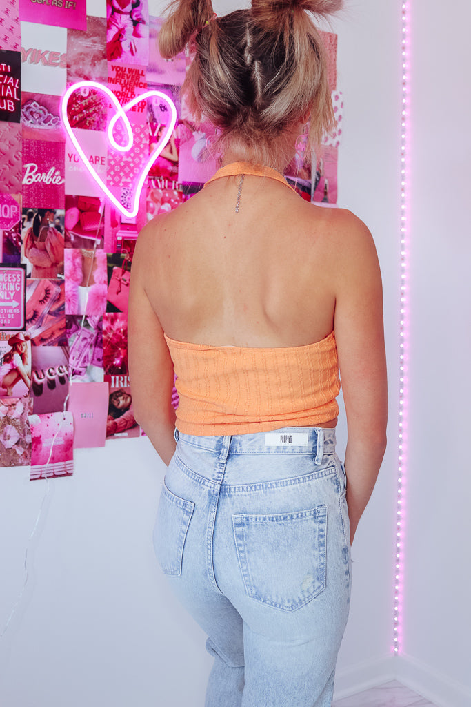 HALEY HALTER TOP - PEACH CREAM - Idol Style - affordable boutique