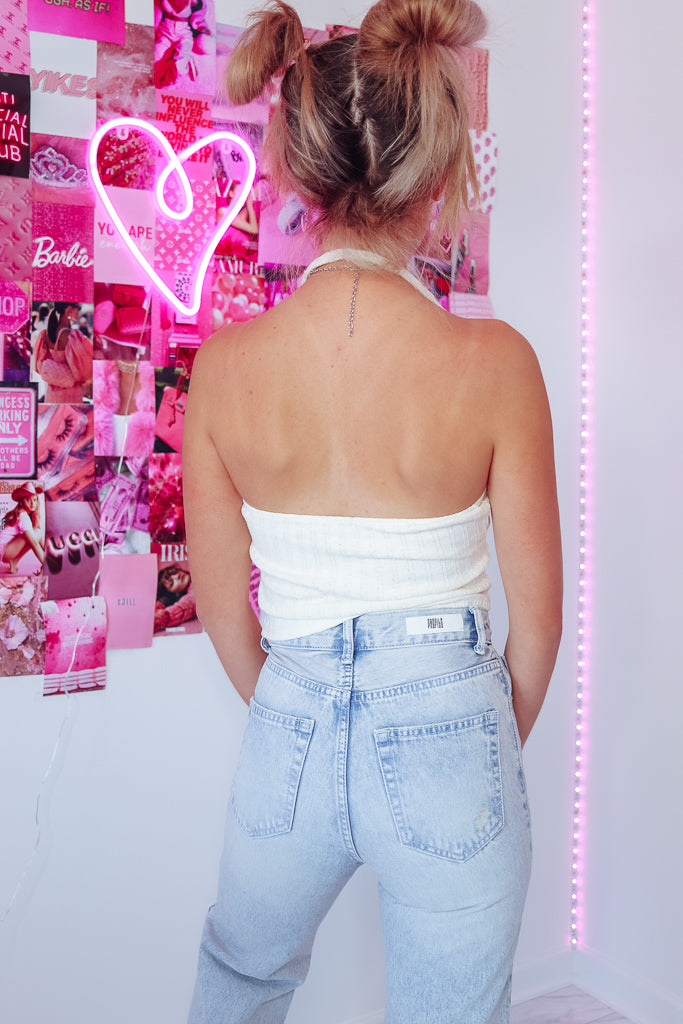 HALEY HALTER TOP - WHITE CREAM - Idol Style - affordable boutique