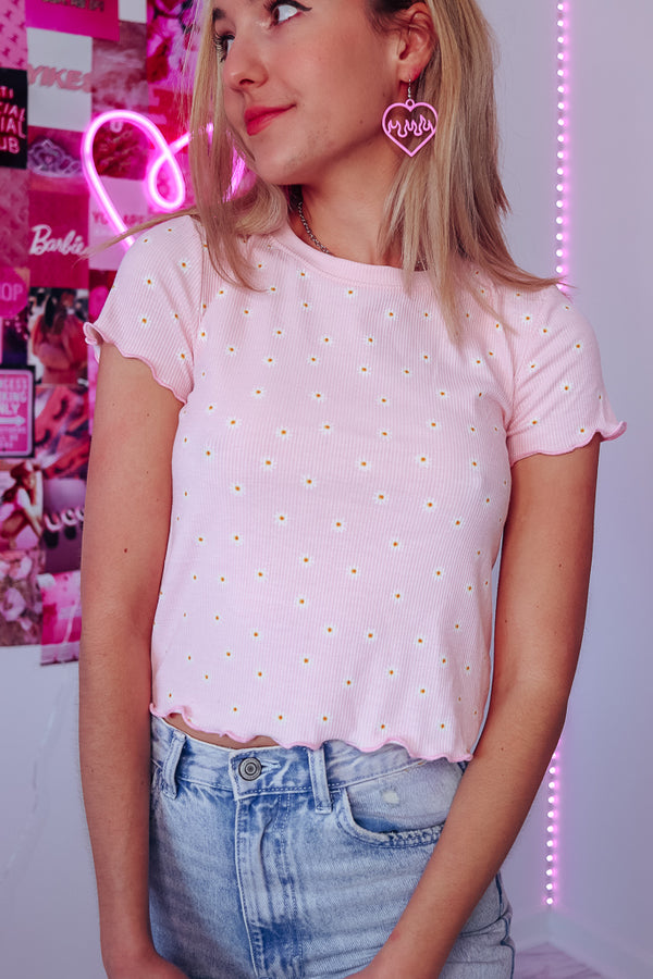 PINK DAISY RUFFLED TEE - Idol Style - affordable boutique