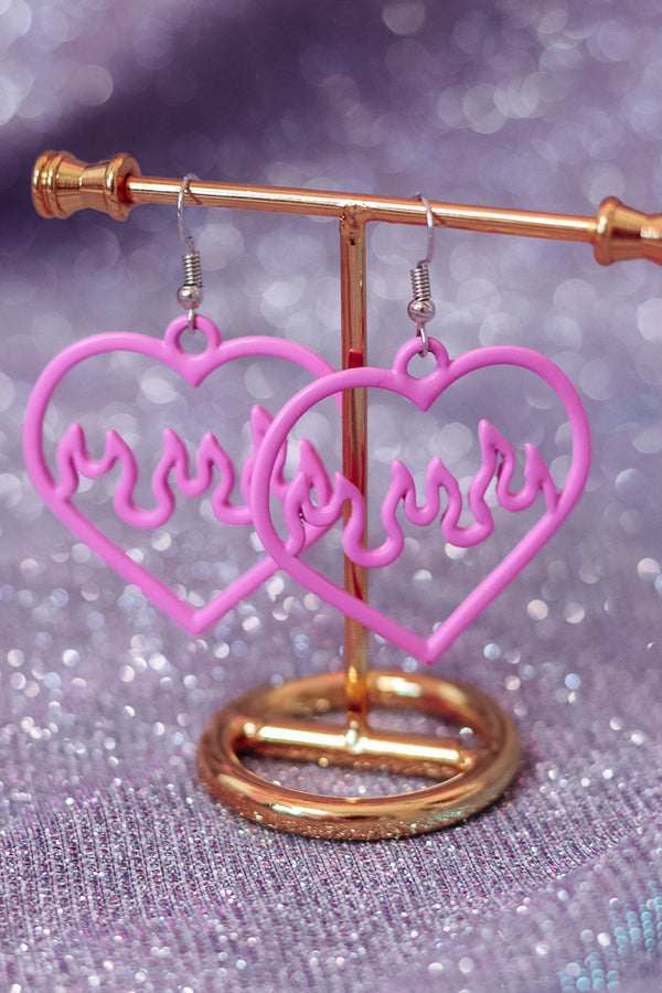 FLAMING HEART EARRINGS - Idol Style - affordable boutique