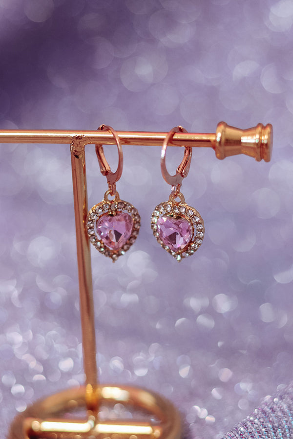 ROYAL EMERALD EARRINGS - GOLD/PINK - Idol Style - affordable boutique