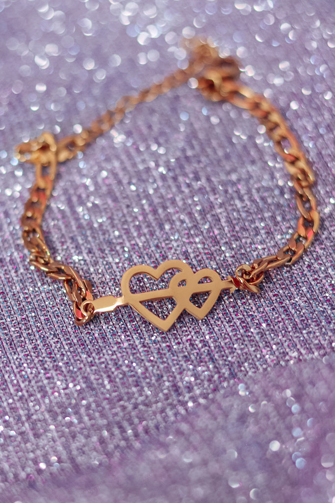 ARROW HEART BRACELET - GOLD - Idol Style - affordable boutique