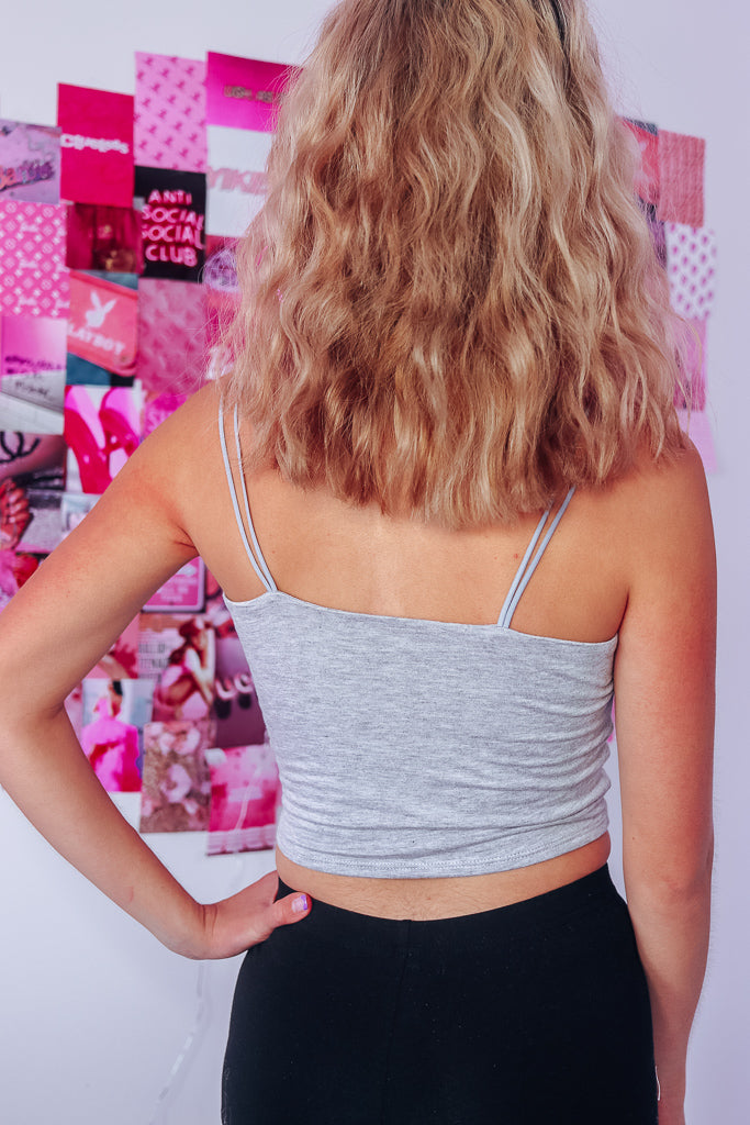 DOUBLE STRAP CAMI TOP - HEATHER GRAY - Idol Style - affordable boutique