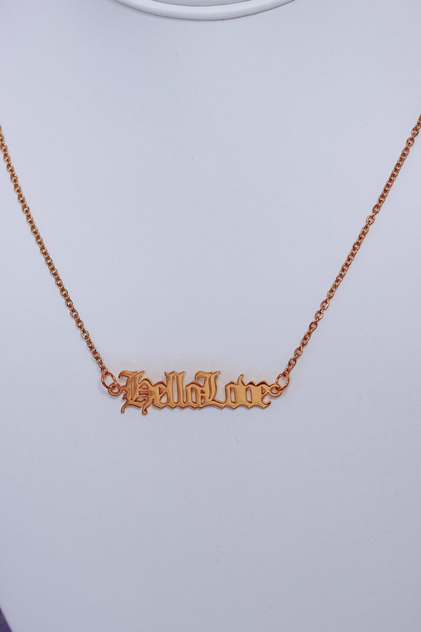 HELLO LOVE NECKLACE - GOLD - Idol Style - affordable boutique