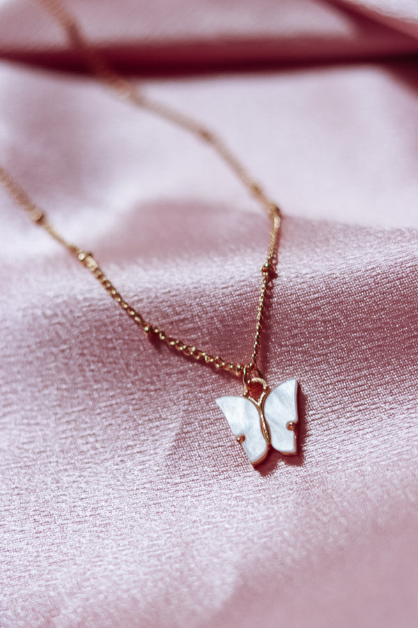 GOLD BUTTERFLY NECKLACE - WHITE - Idol Style - affordable boutique