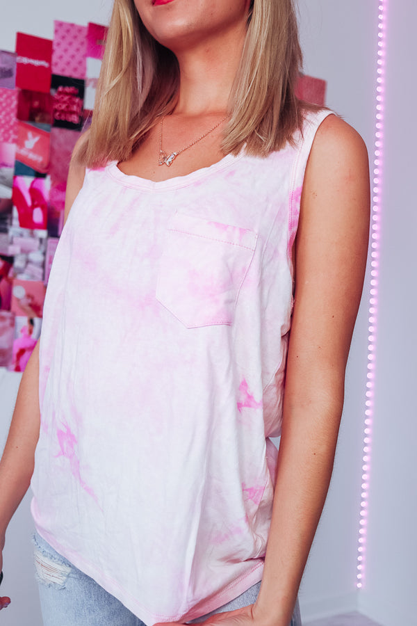 BUBBLEGUM TIE DYE OVERSIZED TANK - Idol Style - affordable boutique