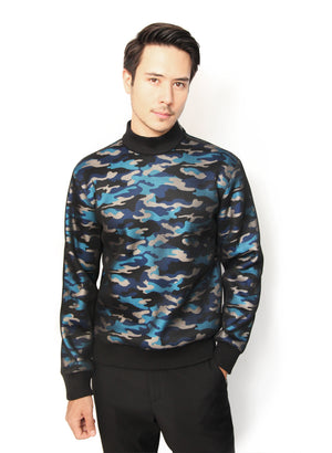 BLUE CAMOUFLAGE SWEATER