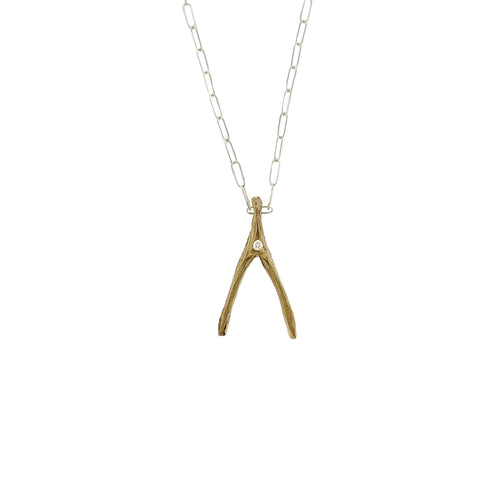 Petite Gold Wishbone with Diamond