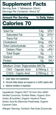 hazelnut keto coffee creamer supplement facts panel