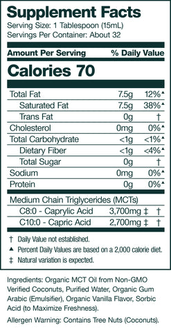 vanilla keto coffee creamer supplement facts panel