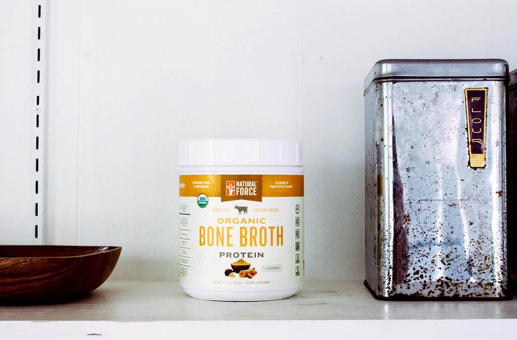 natural force organic turmeric bone broth protein on a shelf