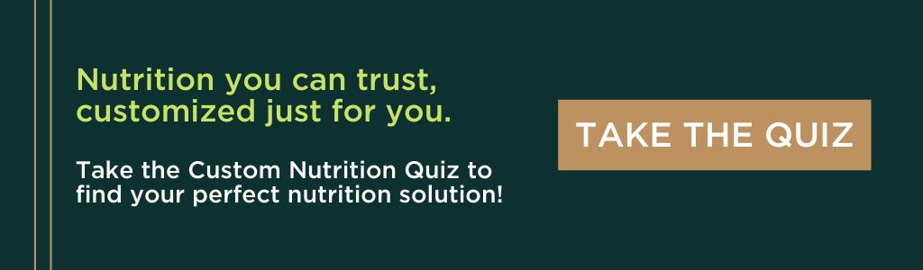dark green custom nutrition quiz graphic with a tan take the quiz button