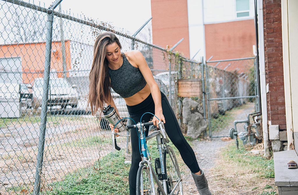 athletic woman on a bicycle